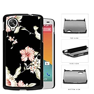 Pink Asian Flower Design with Black Background Hard Snap on Phone Case Cover Lg Google Nexus 5
