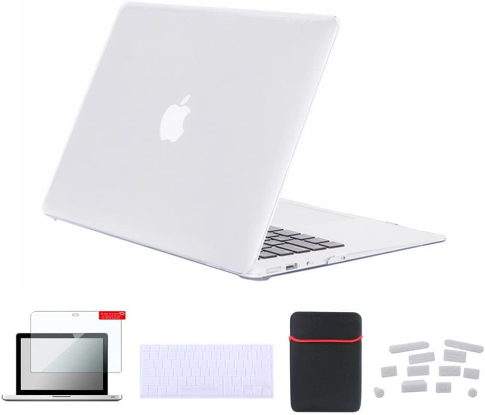 Se7enline MacBook Pro Retina 13 inch Case Plastic Hard Carrying Case for MacBook Pro 13 inch Model A1502/A1425 with Sleeve Bag, Keyboard Cover, Screen Protector, Dust Plug, Crystal Transparent Clear
