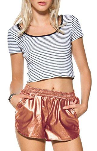 HyBrid & Company Womens Metallic Copper Shiny Shorts with Pockets KSH46125 3823 Copper M ()