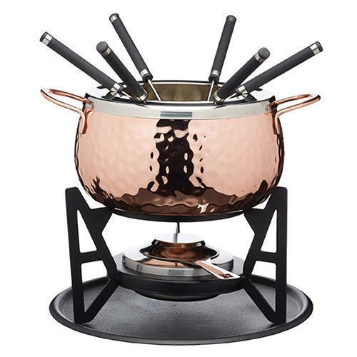 Masterclass Copper Finish Hammered Fondue Set w/6 Forks, Chocolate, Cheese, Meat kc by chefline