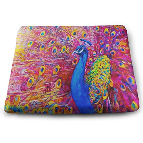 Pkolino Green Desk - Seat Cushion Oil Painting Colorful Peacock Chair Cushion Vintage Offices Butt Chair Pads for Indoor