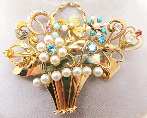 14K Gold Stick Pin Collection Brooch Basket with Zircon (#J644)