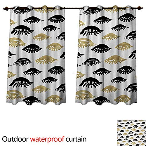 WilliamsDecor Trippy 0utdoor Curtains for Patio Waterproof Sexy Woman Eyes with Eyelash Unusual Style Fashion Icon Modern Design Print W63 x L63(160cm x 160cm)
