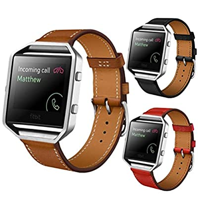 AutumnFall Elegant Design Genuine Leather Watch Strap Adjustbable Wrist Band for Fitbit Blaze