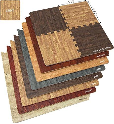 Sorbus Wood Floor Mats Foam Interlocking Wood Mats Each Tile