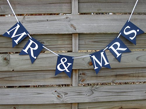 Mr. & Mrs. banner in Navy Blue and White - Wedding Decoration and Photo -
