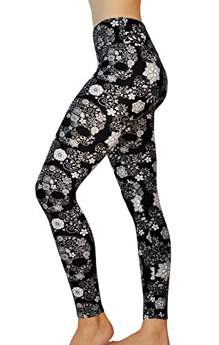 Comfy Yoga Pants - High Waist Yoga Leggings with Bohemian Print - Extra Soft - Dry Fit (One Size, Flower Skull)