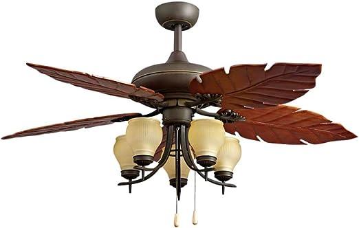 HSF Ventilador de Techo de Madera Maciza del país luz del Ventilador Antiguo salón luz del Ventilador del Restaurante lámpara de araña Retro Ventiladores de Techo con lámpara: Amazon.es: Hogar