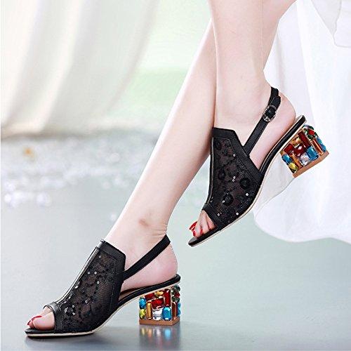 Donna Spessi Khskx Match Pesce Di Coreana bocca Scarpe Da sandali Black Moda Con Femminili Diamond xOx0w8n