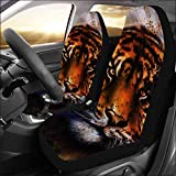 INTERESTPRINT Universal Fit Custom Portrait Tiger face Protector Two Front Car Seat Covers Set -100% Breathable