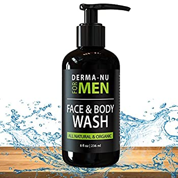 Daily Facial Cleanser & Body Wash for Men By Derma-nu   Moisturizing Body Wash + Face Wash for Men to Cleanse + Refresh + Energize Your Skin   Certified Organic & Natural Ingredients - 8oz