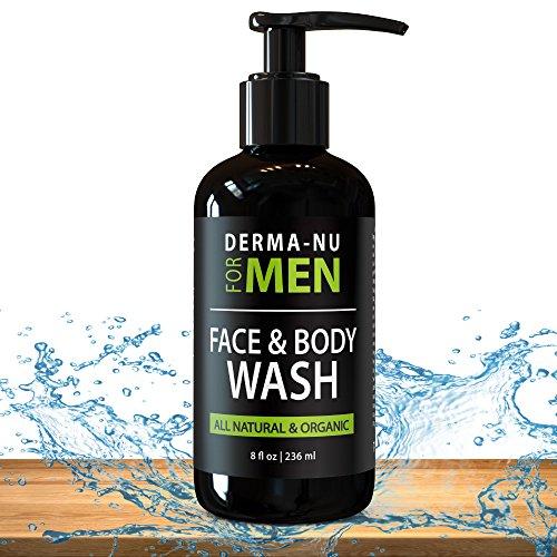 Nettoyant Facial quotidien & lavage de corps pour les hommes de Derma-nu - hydratante corps lavage + se laver le visage pour les hommes pour nettoyer, rafraîchir + tonifier votre peau - certifié ingrédients organiques & naturels - 8oz