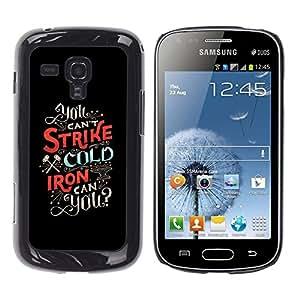 Ihec Tech Huelga Fría Hierro inspirada Texto Negro / Funda Case back Cover guard / for Samsung Galaxy S Duos S7562