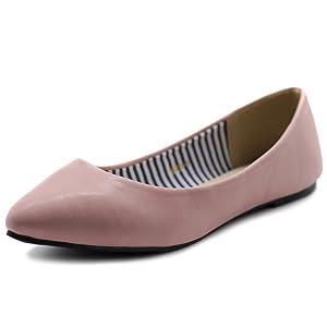 Ollio Women's Ballet Shoe Comfort Basic Light Multi Color Flat (6.5 B(M) US, Pink)