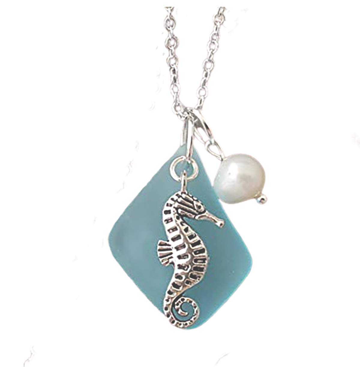 Turquoise Sea Horse Amulet. Necklace Pendant
