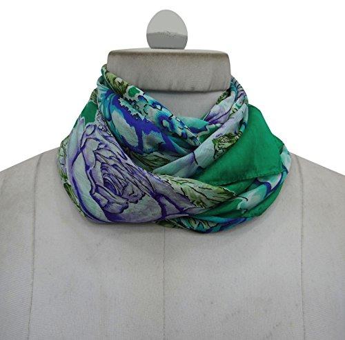 verde Fashion Wrap Summer Silk e Women blu Square Stole Pollici 40 Scarf Floral x Sweet 40 qPXxgw1