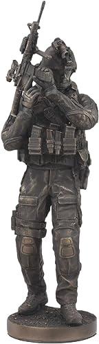 Ebros Large Modern Warfare Infantry Statue 14 Tall Military Rifle Unit Soldier Figurine