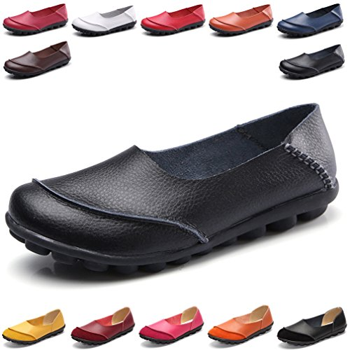 Hishoes Women's Leather Loafers & Slip-Ons Flats Driving Walking Casual Moccasins Soft Sole Shoes by Hishoes