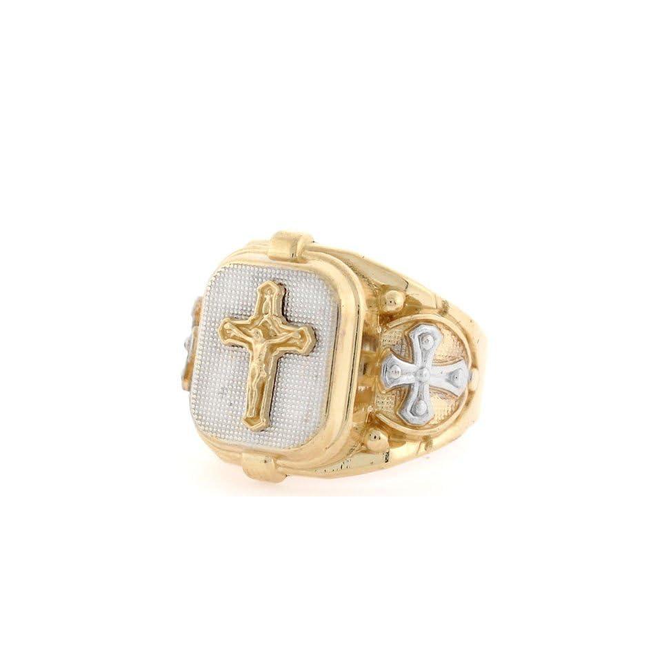 10k Two tone Gold Religious Cross Jesus Fancy Mens Ring