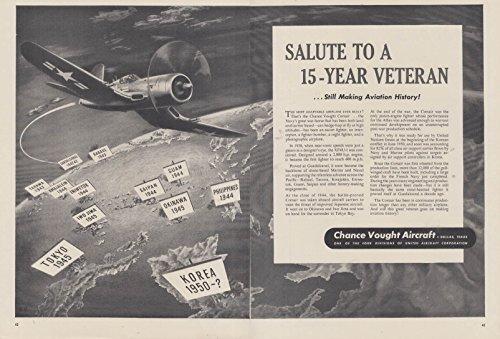 Salute to a 15-year Veteran Still Maing History Chance Vought Corsair ad 1953