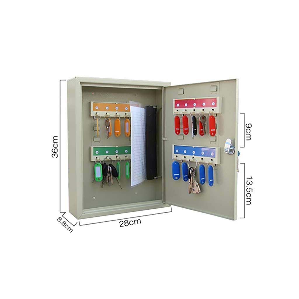 QSJY File Cabinets Key Cabinet, 20 Card Portable Wall Mount Dual-use Key Security Locker (Cold Rolled Steel) 36288.8CM