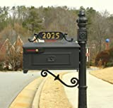 Addresses of Distinction Williamsburg Mailbox & Post Kit Style 211 – Black Estate Mailbox System with Fleur De Lis – Includes Address Plaque, Numbers & Mounting