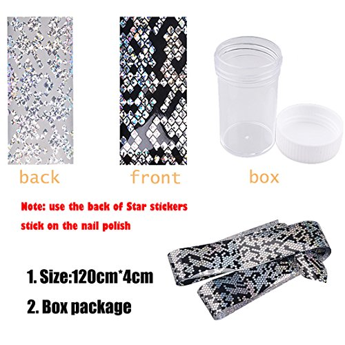 Lookathot 1 Box Nail Art Stickers Decals Mixed Color Star Aurora Mirror Design Glass Piece Broken Foil Paper Printing Nail DIY Decoration Tools
