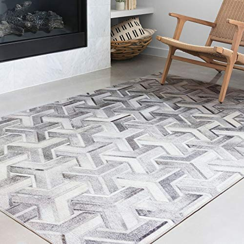 Loloi II Maddox Collection AD-05 Faux Cowhide Patchwork Print Area Rug 7'-6
