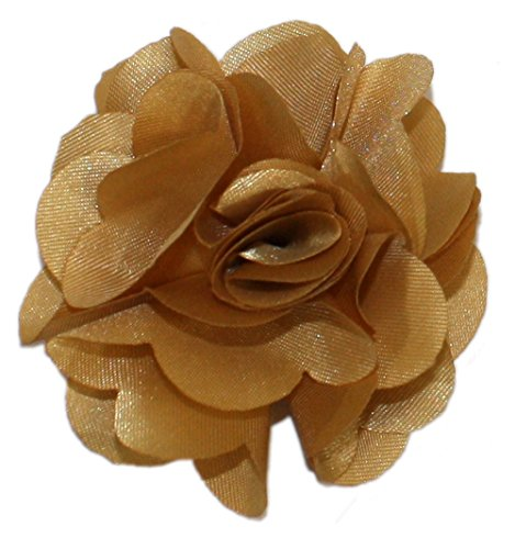 Ted and Jack - Solid Silky Classic Flower Lapel Pin Boutonniere (Gold Flower Pin)
