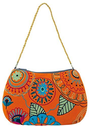 Sunsa Damen Schultertasche Canvas Tasche orange 40x33x13,5 cm