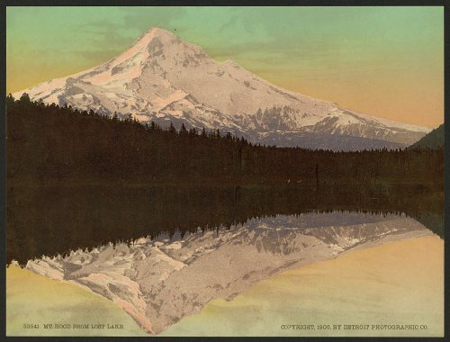 11 x 8 Antique Photochrome Image of: c. 1890 - 1906 Mt. Hood from Lost Lake Professionally Reprinted c705