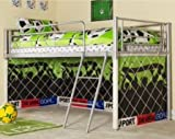COSY STARS METAL MID SLEEPER CABIN BUNK BED WITH FOOTBALL FUN PLAYFUL TENT