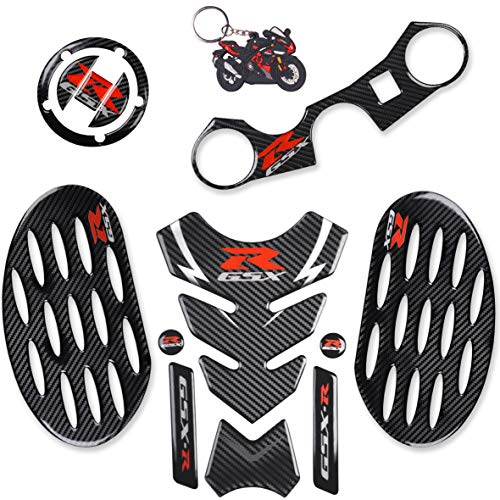 REVSOSTAR Real Carbon Look Gas Cap, Tank Pad, Triple Tree Front End Upper Top Clamp Decal Stickers,Tank Protector with Keychain for GSXR 600 GSXR 750 GSXR 1000 K6 K7 K8 K9 L1 2006-2017, 6Pcs Per Set Carbon Fiber Gas Cap