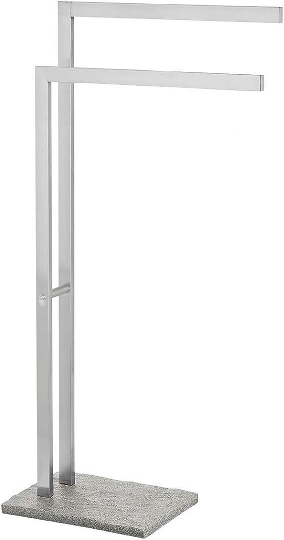 Wenko Handtuchständer Granit Handtuchhalter freistehend in Stein Optik Kleiderständer aus rostfreiem Edelstahl 43 5 x 86 5 x 20 cm grau silber