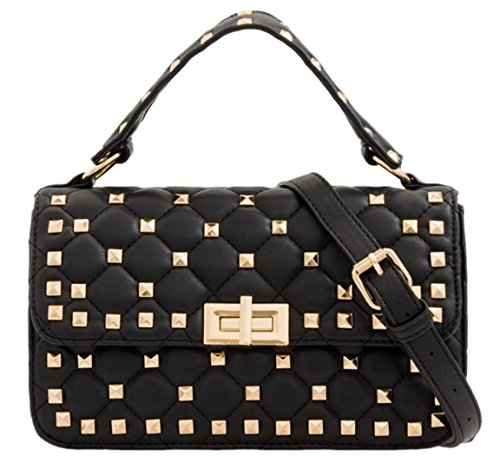 Girly Satchel Quilted HandBags Mini Black PZPBOw6