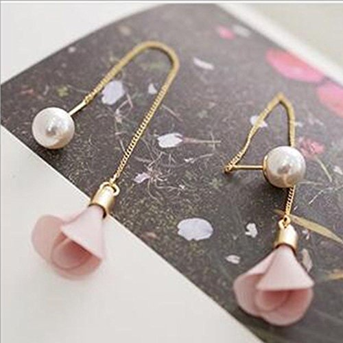 [Sumanee Flower Pearl Pendant Dangle Earrings Long Earrings Dangle Earrings Ear Lines (pink)] (Dia Dangle Earrings)