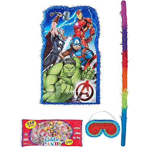 Party City Giant Avengers Pinata Supplies, Include a Large Pinata, a Pinata Stick, a Blindfold, and 4 Pounds of Candy -