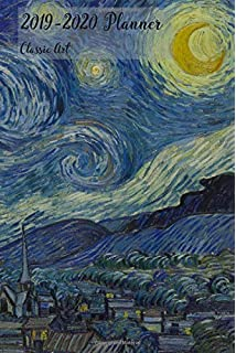 2018 2019 planner classic art small academic 2018 19 agenda with yearly and monthly pages and vincent van gogh starry night pd 1923 cover