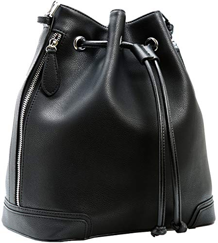 Kenoor Leather Drawstring Bucket Bag Retro Handbags Shoulder Bag Purses Crossbody Bags For Women with Long Shoulder Strap -