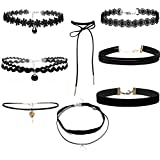 8PcsSet Punk Velvet Lace Choker Pendant Chain Necklace Gothic Collar Jewelry NiceShopping
