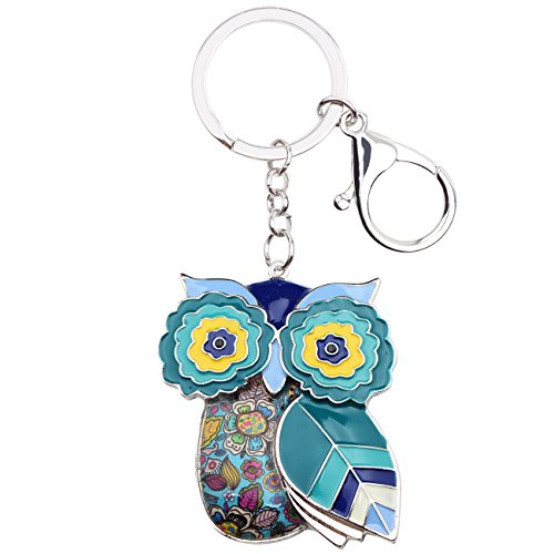 Bonsny Enamel Metal Chain Owl Key Chains For Women Car Purse Handbag Charms Pendant Gifts (Blue)