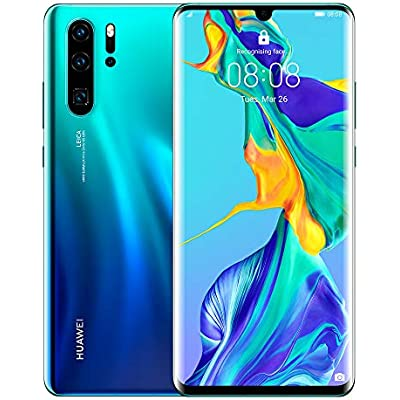 Huawei P30 Pro 128 6 47 Inch OLED Display Smartphone with Leica Quad Camera  8GB RAM  EMUI 9 1 0 Sim-Free Android Mobile Phone  Single SIM  Aurora  Version