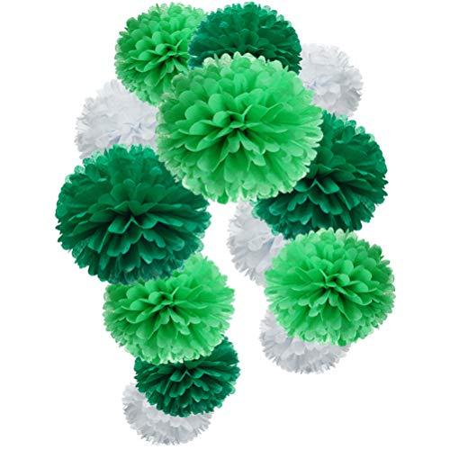 Ball Tissue Green - MOWO Green Paper Flower Tissue Pom Poms Party Supplies (Dark Green,Light Green,White,12pc)
