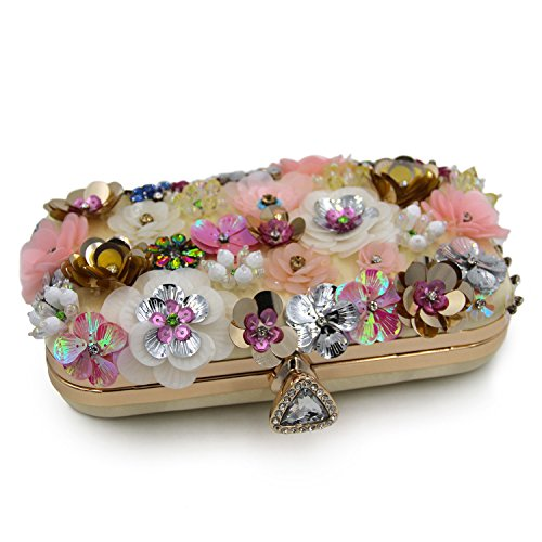 Beaded Lovely Pearl Bags Decorate Handbags Clutch Flower Wedding Women's Purse Evening Rabbit Clutch Dinner xFFqpt