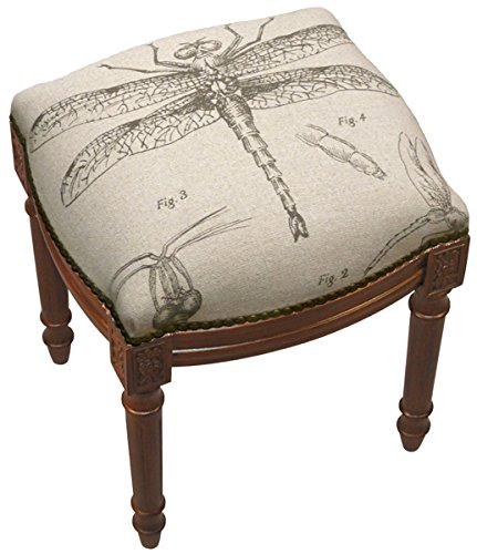 SketchONE Linen Upholstered Vanity Stool, Dragonfly Study by SketchONE