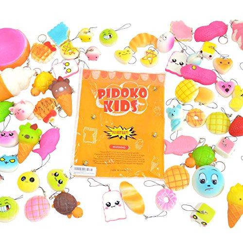 Phone Strap Keychain (Pidoko Kids Random Assorted Squishies 20 Pcs Pack - Cream Scented Jumbo, Medium, Mini, Soft Slow Rising Squishy - Phone Straps And Key Chain (20 Pcs))