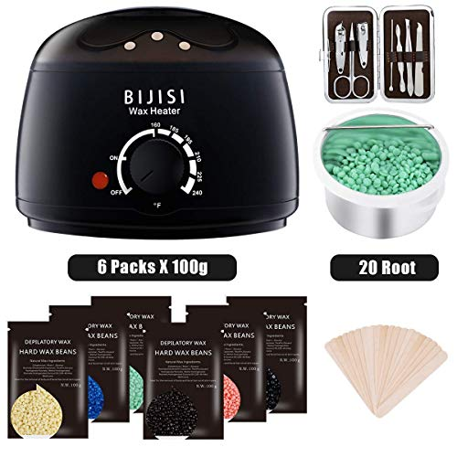 Wax Warmer, Bijisi Hair Removal Waxing Kit with 6 Hard Wax Beans and 20 Wax Applicator Sticks, DIY Depilatory Machine for Arm, Leg and Toe Wax Warmer