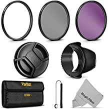 55MM Professional Lens Filter Accessory Kit for SONY Alpha Series A99 A77 A65 A58 A57 A55 A390 A100 DSLR Cameras - Includes: Vivitar Filter Kit (UV, CPL, FLD) + Carry Pouch Tulip Lens Hood + Snap-On Lens Cap w/ Cap Keeper Leash + MagicFiber Microfiber Lens Cleaning Cloth