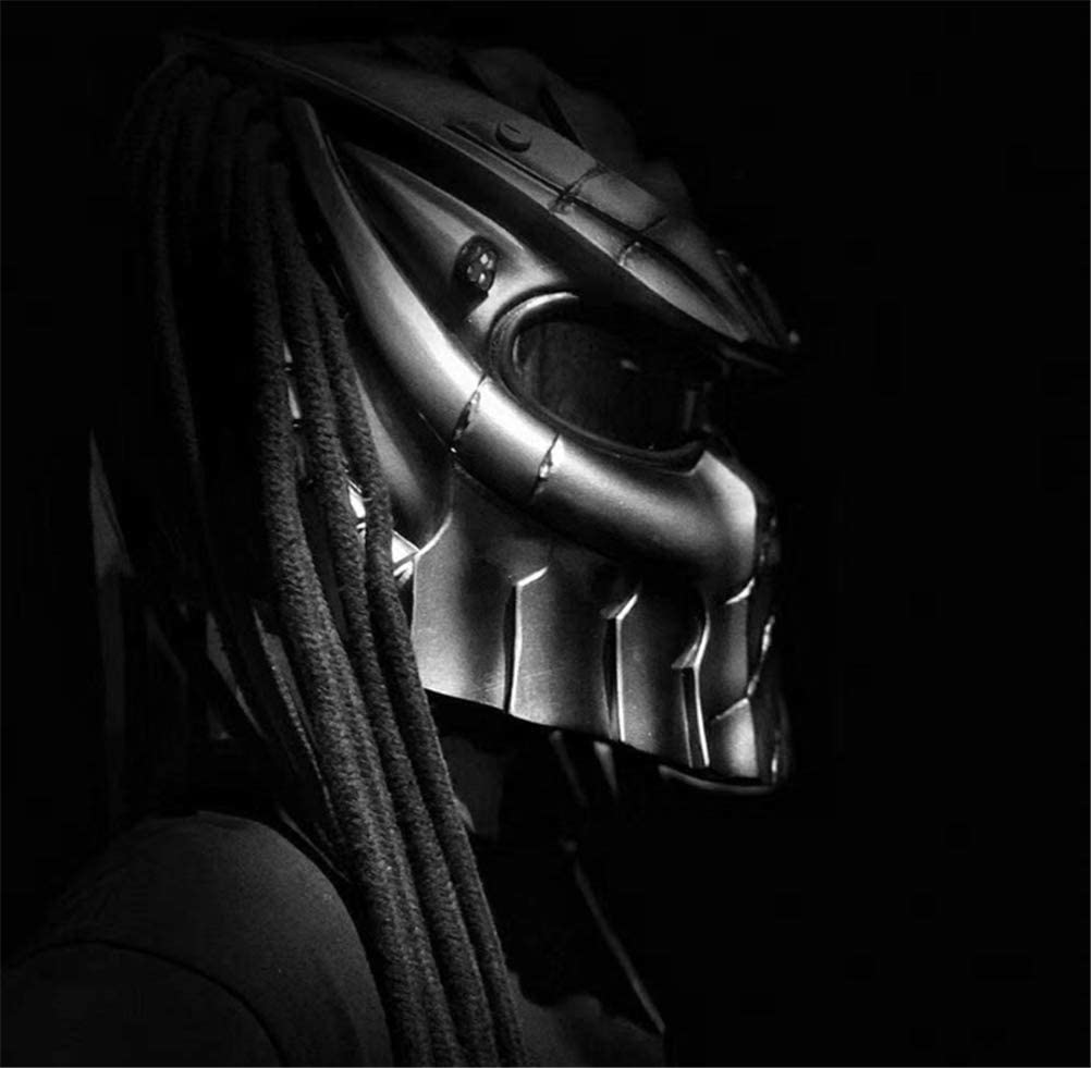 LUHUIYUAN Predator Helmet with Red light 59-62cm Black Iron Warrior Motorcycle Helmet Creative Full Face Helmet with Lens Anti-Fog Personality Hair Braid and LED Light D.O.T Safety Certified L//XL
