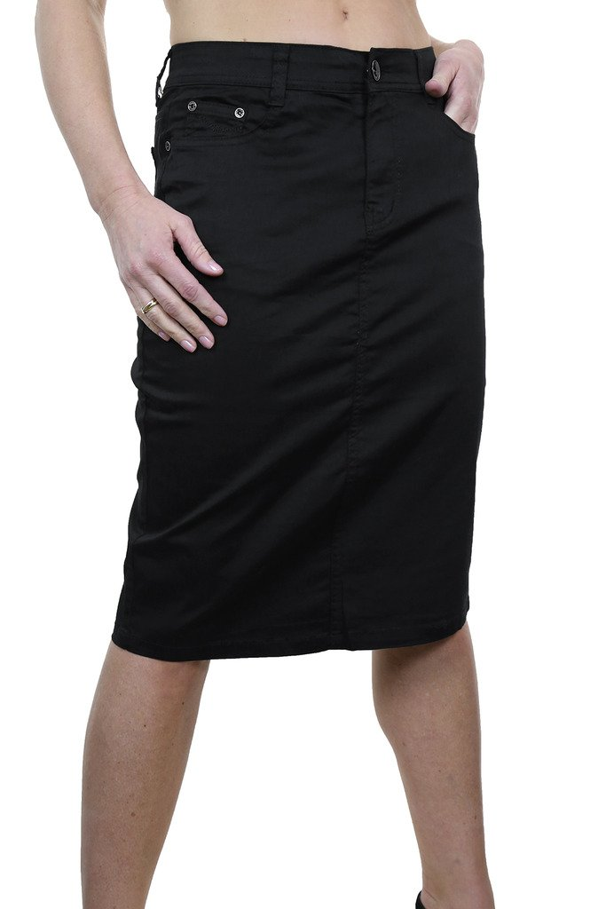 icecoolfashion Ice (2516-1) Plus Size Stretch Chino Sheen Jeans Style Skirt Black (20)